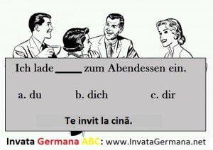 invata germana, limba germana, exrecitii germana, exercitii de limba germana, test germana, teste de limba germana, test germana b2, invata germana abc, dich, du, dir