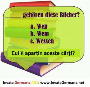 invata germana, limba germana, exrecitii germana, exercitii de limba germana, test germana, teste de limba germana, test germana b2, invata germana abc, cui in lumba germana